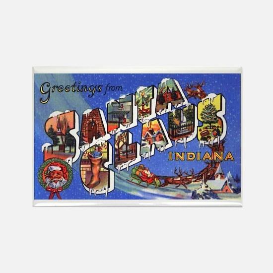 Santa Claus Indiana Greetings Rectangle Magnet