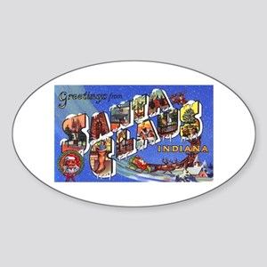 Santa Claus Indiana Greetings Oval Sticker