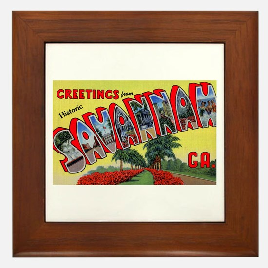 Savannah Georgia Greetings Framed Tile
