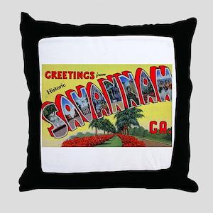 Savannah Georgia Greetings Throw Pillow