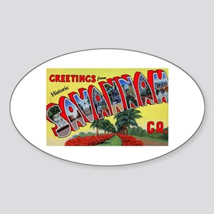 Savannah Georgia Greetings Oval Sticker