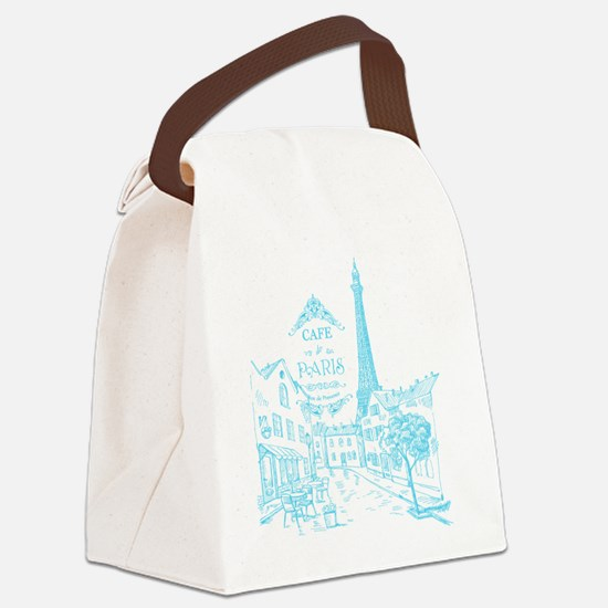 Teal Paris Cafe Canvas Lunch Bag