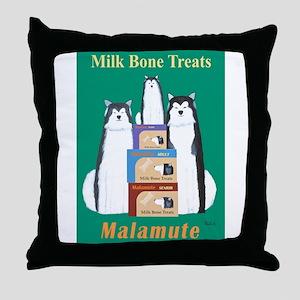 Malamute Milk Bones Throw Pillow