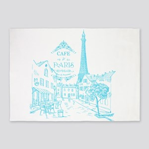 Teal Paris Cafe 5'x7'Area Rug