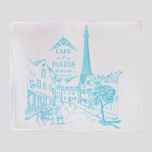 Teal Paris Cafe Throw Blanket