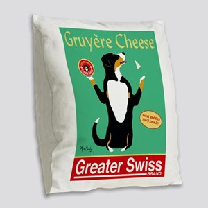 Greater Swiss Gruyère Cheese Burlap Throw Pillow
