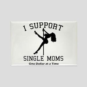 BLK I Support Single Moms Rectangle Magnet