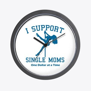 BL I Support Single Moms Wall Clock