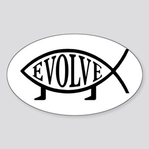 Evolution Fish Oval Sticker