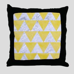 TRIANGLE2 WHITE MARBLE & YELLOW WATER Throw Pillow