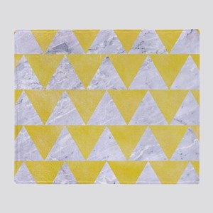 TRIANGLE2 WHITE MARBLE & YELLOW WATE Throw Blanket