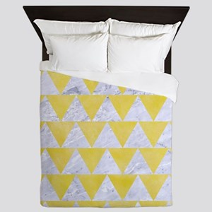 TRIANGLE2 WHITE MARBLE & YELLOW WATERC Queen Duvet