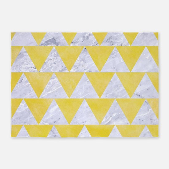 TRIANGLE2 WHITE MARBLE & YELLOW WAT 5'x7'Area Rug