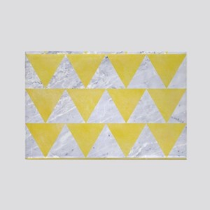 TRIANGLE2 WHITE MARBLE & YELLOW W Rectangle Magnet