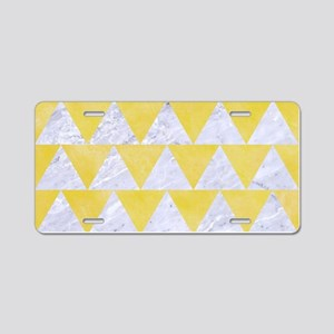 TRIANGLE2 WHITE MARBLE & YE Aluminum License Plate