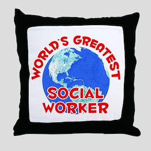 World's Greatest Socia.. (F) Throw Pillow