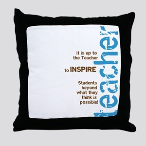 Teacher's Inspire (Blue/Brown Throw Pillow