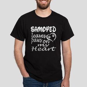 Samoyed Dog Leaves Paws on My Heart Dark T-Shirt