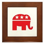 Republican Elephant Logo-Single Color Framed Tile