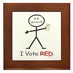 Stick Figure Vote Red Framed Tile