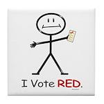 Stick Figure Vote Red Tile Coaster