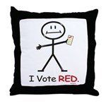 Stick Figure Vote Red Throw Pillow
