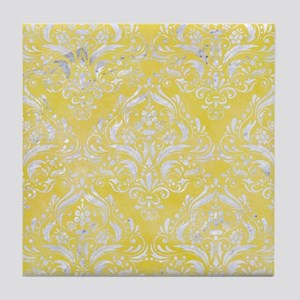 DAMASK1 WHITE MARBLE & YELLOW WATERCO Tile Coaster
