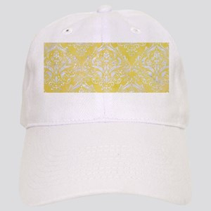 DAMASK1 WHITE MARBLE & YELLOW WATERCOLOR Cap