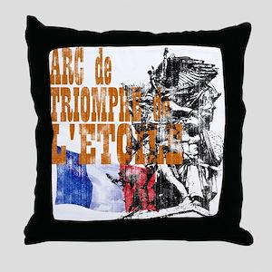 Arc de Triomphe Distressed Throw Pillow