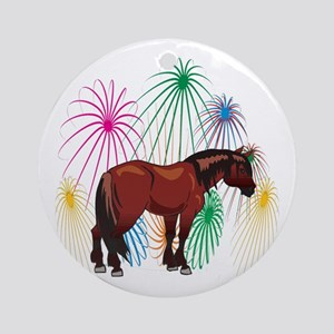 Clydesdale 4th Of July Fireworks Ornament (Round)