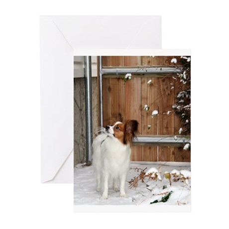 Papillon by the Fence Greeting Cards (Pk of 10
