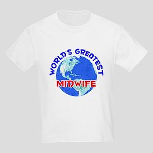 World's Greatest Midwife (E) Kids Light T-Shirt