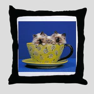 Kittens in a teacup Throw Pillow