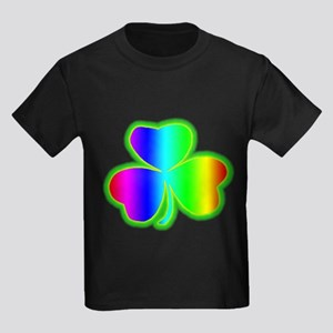 Rainbow Shamrock Kids Dark T-Shirt
