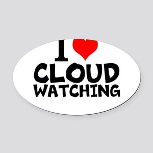 I Love Cloud Watching Oval Car Magnet