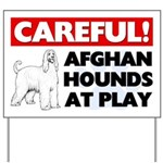 Afghan Hounds At Play Yard Sign