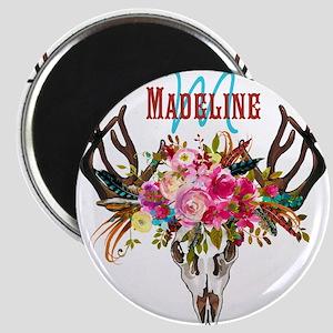 Bohemian Antler Floral Monogram Magnets