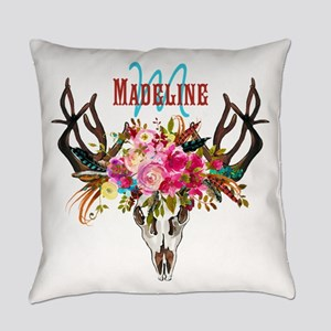 Bohemian Antler Floral Monogram Everyday Pillow