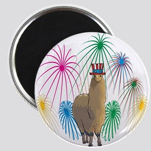 Alpaca 4th of July Fireworks Magnet