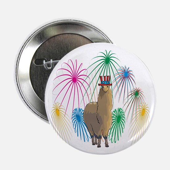 """Alpaca 4th of July Fireworks 2.25"""" Button"""