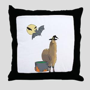Alpaca Witch Halloween Throw Pillow