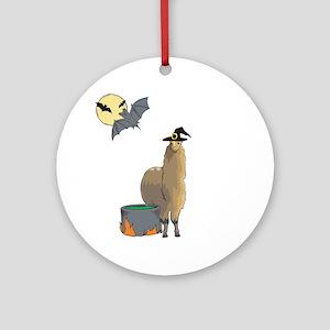 Alpaca Witch Halloween Ornament (Round)