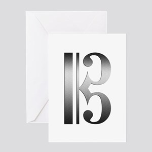 """""""Silver"""" C Clef Greeting Cards"""