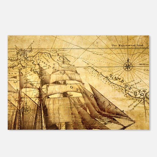 Old Map And Ship Postcards (Package of 8)