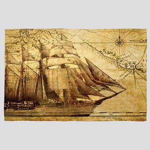Old Map And Ship 4' x 6' Rug