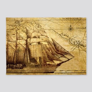 Old Map And Ship 5'x7'Area Rug