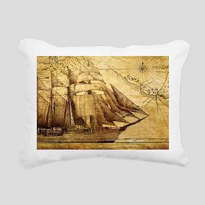 Old Map And Ship Rectangular Canvas Pillow