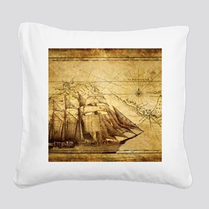Old Map And Ship Square Canvas Pillow