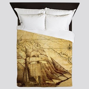Old Map And Ship Queen Duvet