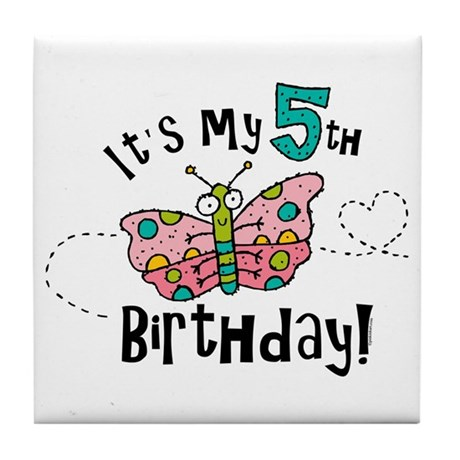 Butterfly Birthday Fifth Tile Coaster